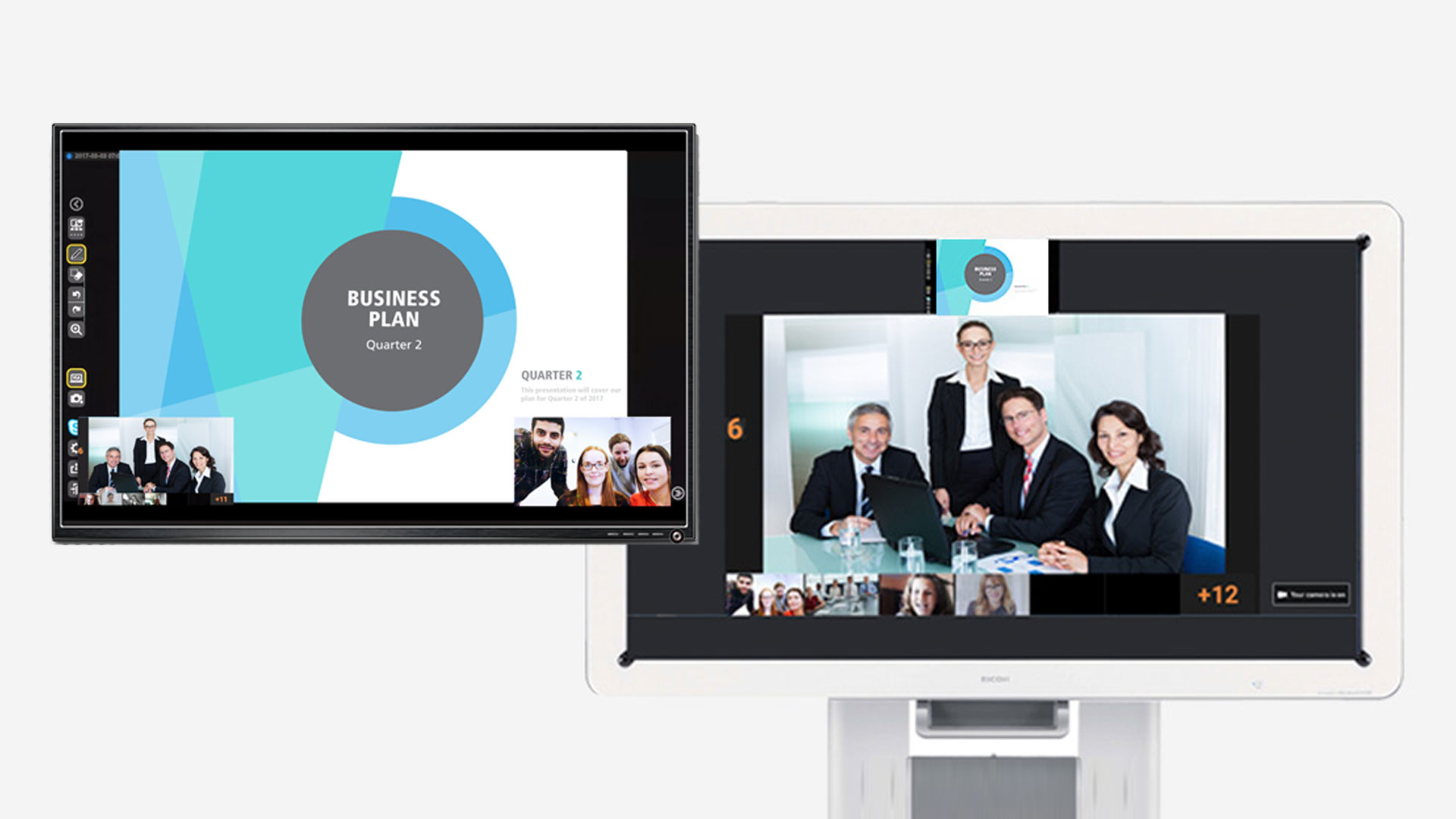 Video Conferencing Screens on interactive whiteboard
